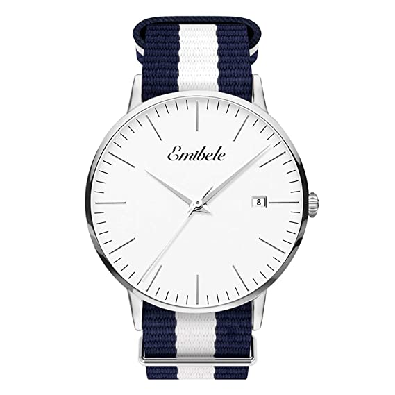 Emibele Mens Quartz Watch, Business Casual Fashion Waterproof 50M Water Resistant Quartz Wristwatch with Striped Nylon Band and Calendar Date Window for Men - Silver Dial + Blue & White Band