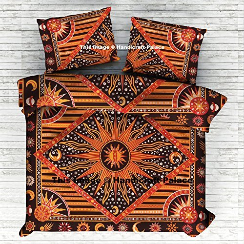 Indian Handmade Doona Cover The Burning Sun Duvet Cover Comforter Set Bohemian Bedding Set Queen Size Traditional Doona Cover