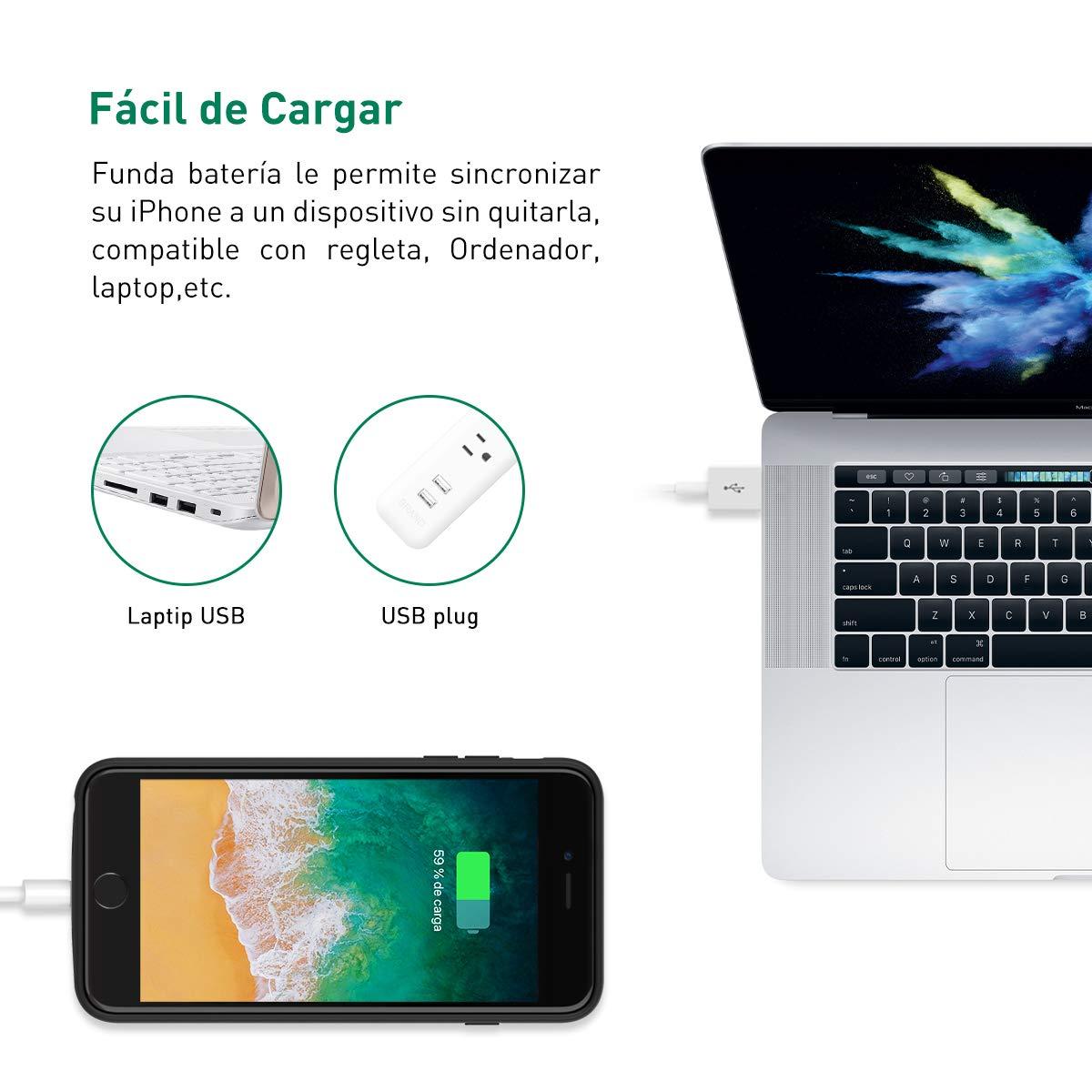 Wellwerks Funda Batería 8000mAh Externa Batería para iPhone 8 Plus /7P /6P /6SP: Amazon.es: Electrónica
