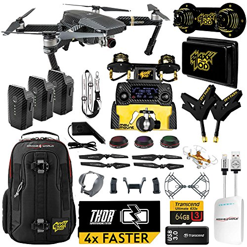 DJI Mavic PRO MaXX Mod Long Range Kit w/ Thor Charger, Carbon Fiber Blades, Backpack, Custom Bracket + Mount, 3 Batteries, Lens Filters & More by Drone World