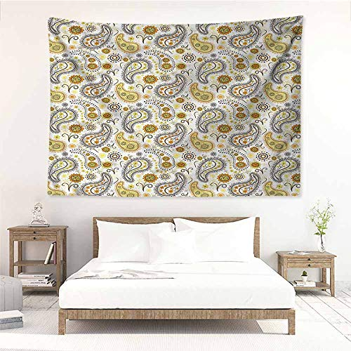 Paisley Brown Needlepoint (Sunnyhome Tapestry Hippie,Yellow and Brown Paisley Flowers,Home Decorations for Bedroom Dorm Decor,W59x39L)