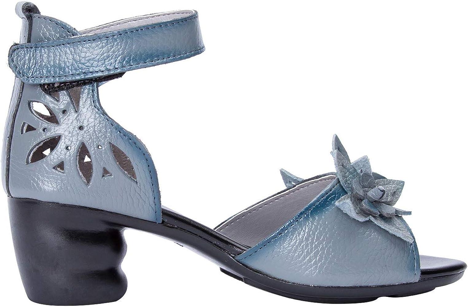 Sandale Confort Cm Talon Bride Wealsex Cuir 4 Femme Fleurs Carre qpSVzLUMG