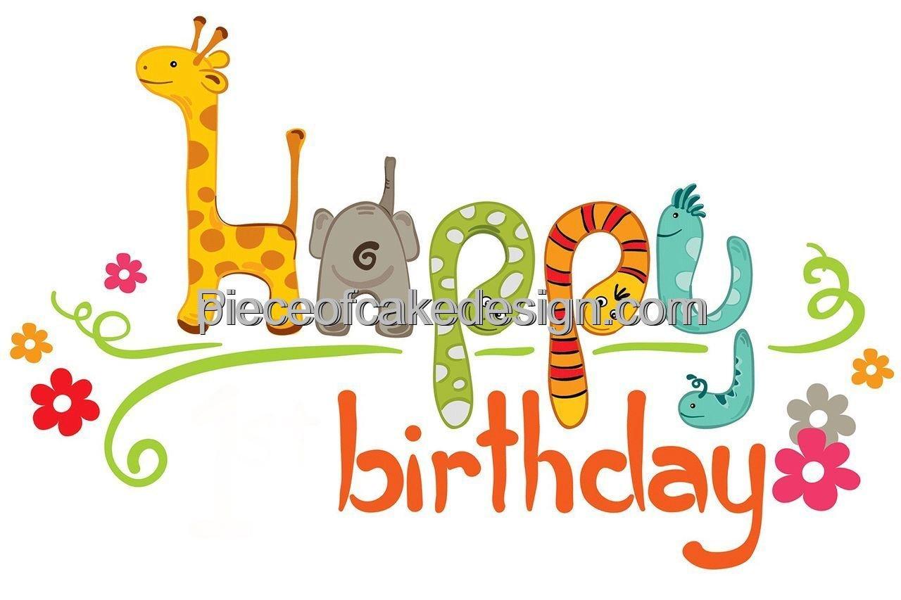 "2"" Round Baby Zoo Animals Happy Birthday Cartoon Birthday"