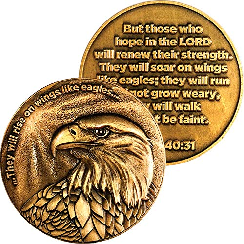 Christian Eagle Challenge Coin, Antique Gold Plated, American Bald Eagle & Isaiah 40:31 - http://coolthings.us