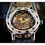 T-Winner Black Golden Retro Luminous Hands Fashion Diamond Display Mens Mechanical Skeleton Wrist Watches Top Brand Luxury Clock