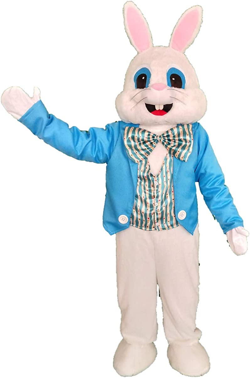 NQBRNG Blue Easter Rabbit Mascot Costume Adult Easter Fancy Cosplay Costume