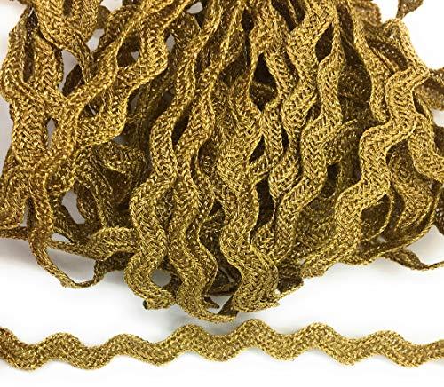 Gold RIC RAC Braided -Vintage Metallic Gold Flat Trim - -,3/8