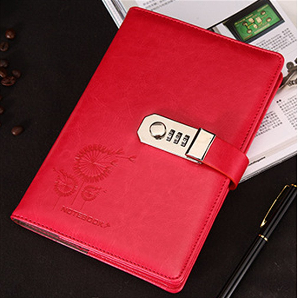 Meolin Leather Notebook Personal Diary with Code Lock Paperback Notepad Paper Office School Supplies Gift,red,8.665.710.79inch by Meolin (Image #2)