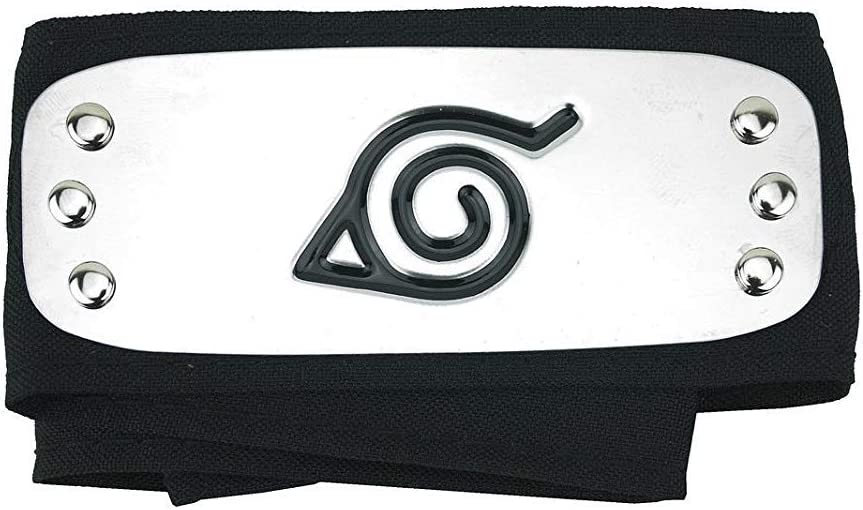 Leaf Village Logo Plated Headband Forehead Protector Cosplay Accessories for Fans - Black