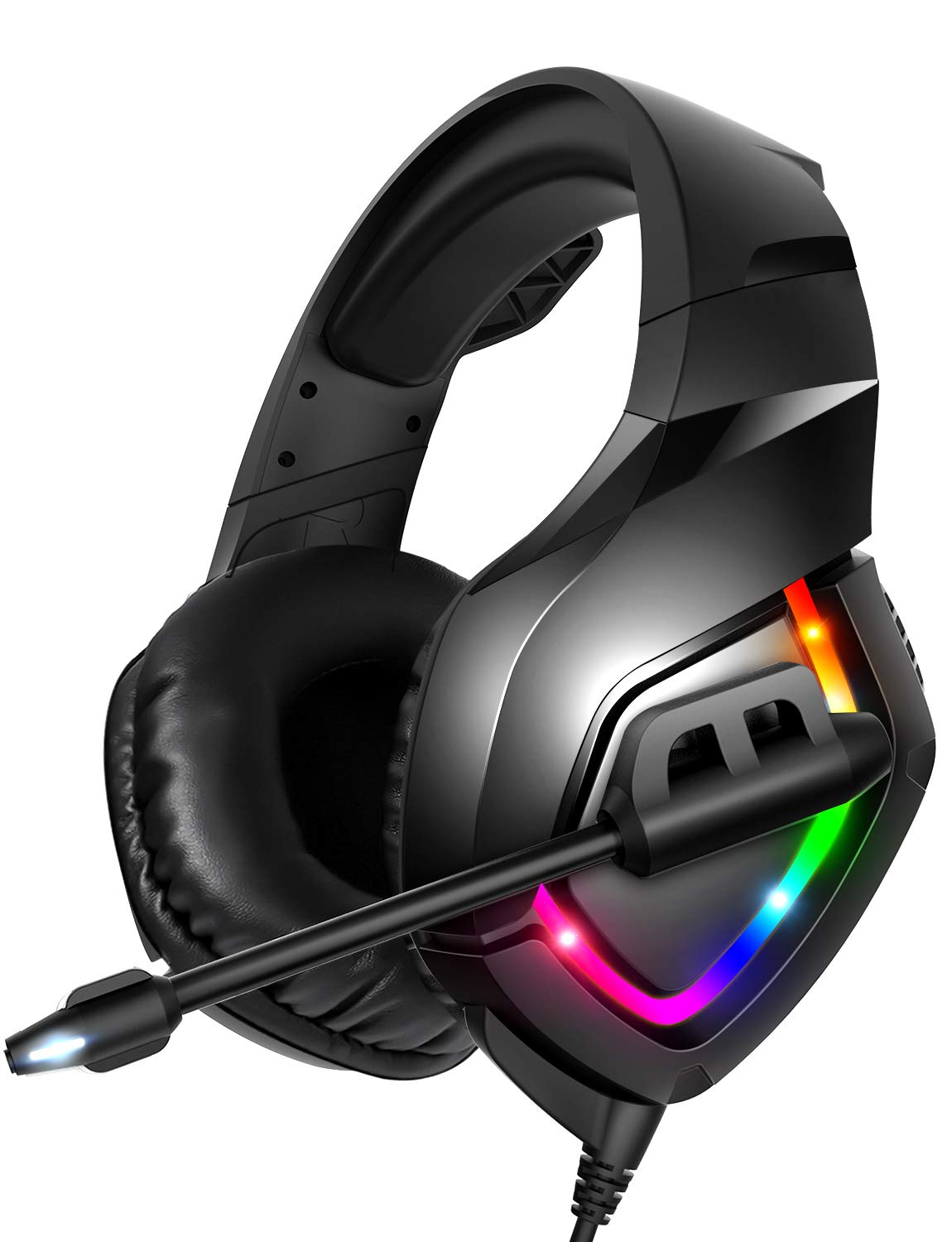 RUNMUS Gaming Headset PS4 Headset with 7.1 Surround Sound, Xbox One Headset with Noise Canceling Mic & RGB Light, Compatible w/ PS4, Xbox One(Adapter Not Included), PC, Laptop, NS