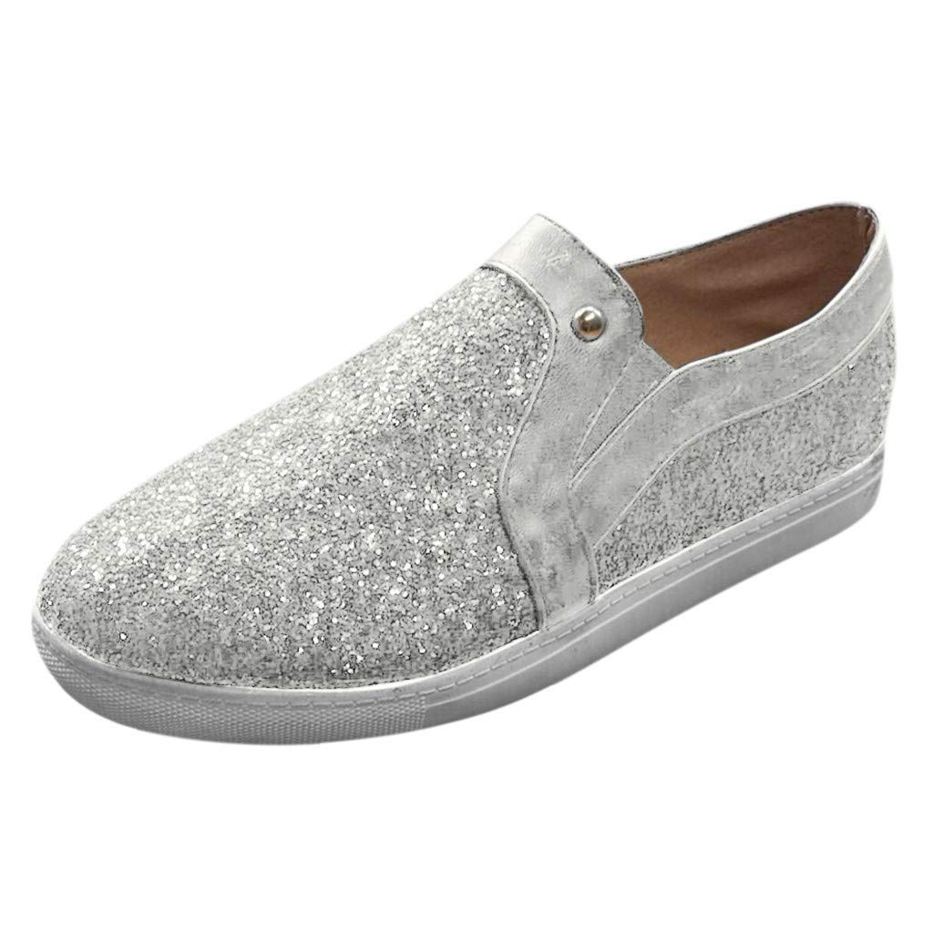 Aunimeifly Ladies Wild Flat Loafers Women's Shining Breathable Comfortable Walking Casual Shoe Slip On Sneakers(US:6,Silver) by Aunimeifly