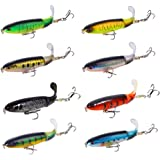Nuguri Fishing Lures Set 8Pcs Whopper Plopper Bass Lures with Topwater Floating Rotating Tail Artificial Hard Bait Swimbaits