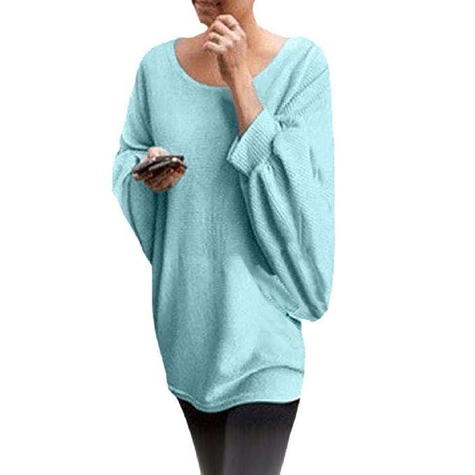Rcool Blusa para Mujeres Blusa Suelta de Talla Grande Oversized Camiseta con Mangas Largas de Murciélago