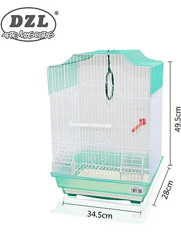 DZL jaula para pajaros con comederos,palos y columpios (34.5X28X49.5CM)