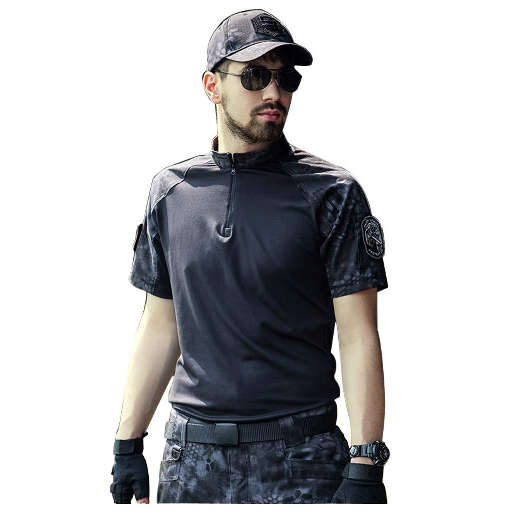 GRZP Camouflage-Anzug Black Python, Sommer Kurzarm-Camo-Hose Set Stehkragen schnell trocknend weich zweiteilig für Outdoor-Camping militärische Ausbildung Jagd Sport Klettern Reiten (größe : L-L)