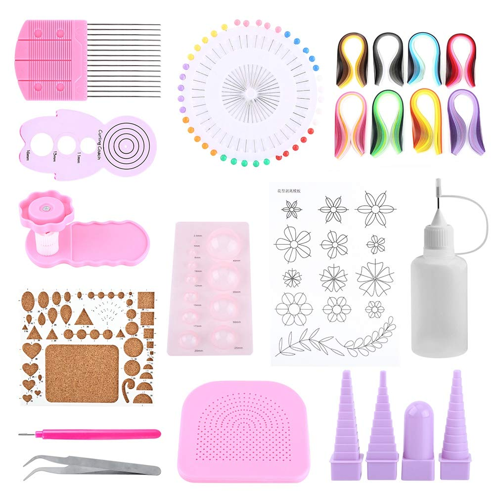 FTVOGUE DIY Paper Quilling Tool Craft Rolling Kit Slotted Tools Strips Tweezer Pins Fun for Children Puzzle Paper Kit Decoration Artwork