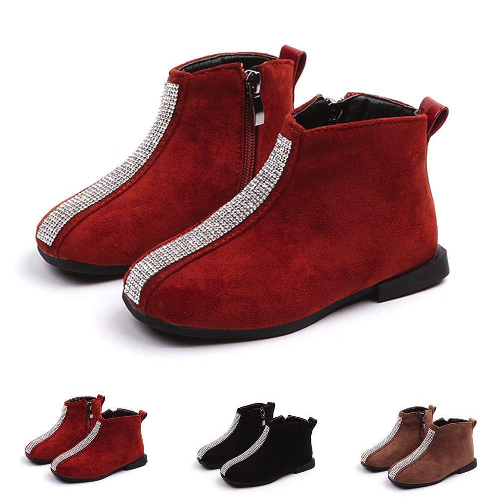 Foncircle Baby Kids Pearls Martin Sneaker Shoe Thick Heel Zipper Ankle Booties