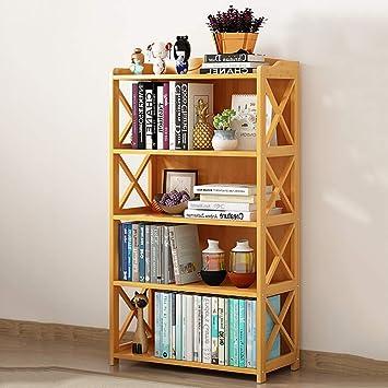 Amazon.com: ZXY Estantería de bambú gruesa, 3 – 5 estantes ...