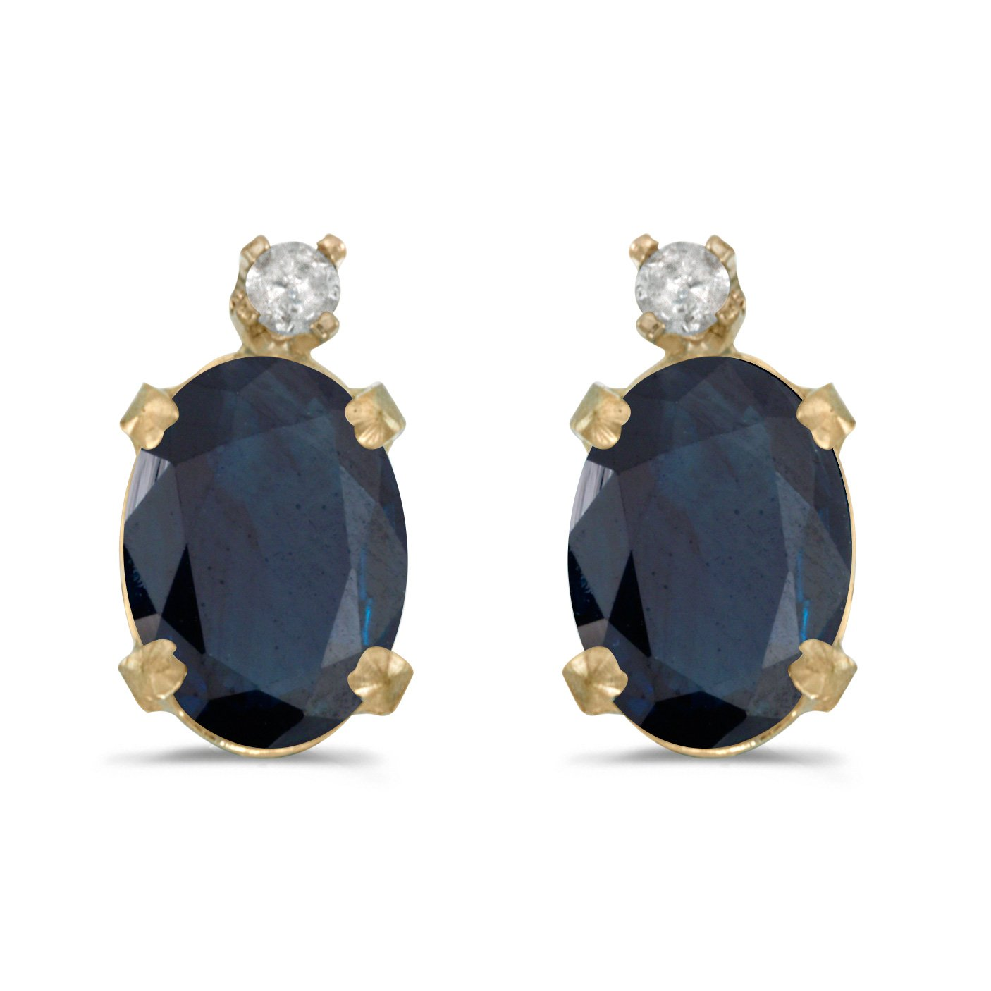 Jewels By Lux 14k Yellow Gold Studs Oval Gemstone and Diamond Earrings CM-061118