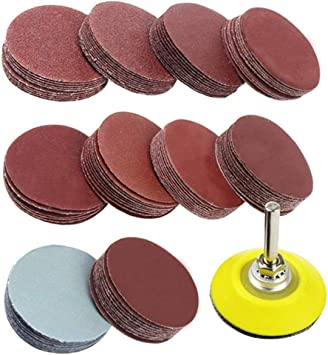 SNOWINSPRING 2 inch 100PCS Sanding Discs Pad Kit for Drill Grinder Rotary Tools with Backer Plate 1//4inch Shank Includes 80-3000 Grit Sandpapers