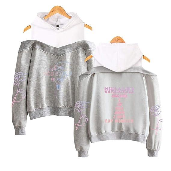BTS Damen Kapuzenpullover 2 in 1 Sweatshirts Schulterfrei