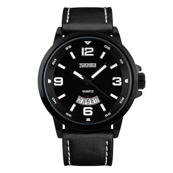 correa de cuero negro clásico de los hombres relojes grandes números arábigos de relojes para el