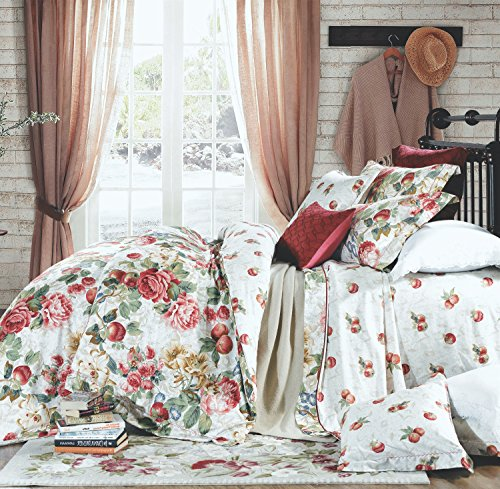Shabby Chic French Country Garden Floral Duvet Quilt Cover by Eikei, Colorful Blossom Fruit Print Reversible Cotton Bedding Set Cottage Style Blooming Orchard Meadow Flowers (King, Ivory)