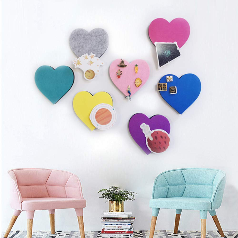 Set of Wall Bulletin Board Heart Hexagon Puzzle Pin Board w//Self Adhesive to Keep Photos Memos Display Board Pads Pictures Drawing Goals Notes Colorful Foam Wall Decorative Felt Cork Board Tiles