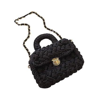 Amazon.com: Bolsa tejida de algodón con solapa, bolsas de ...