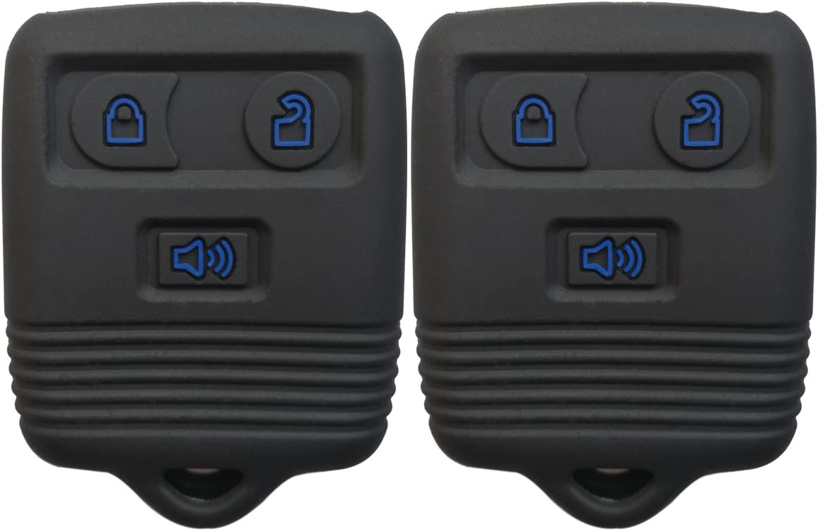 Coolbestda Rubber 3 Buttons Key Fob Cover Case Shell Keyless Entry Jacket Holder for Ford F150 F250 F350 Explorer Ranger Escape Expedition