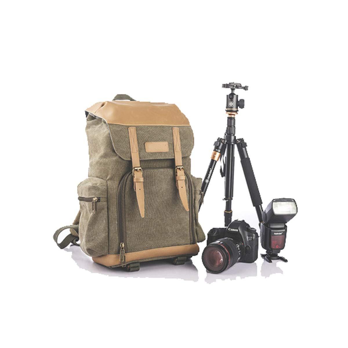 カメラバッグ、地理旅行カメラバックパック、ショルダーレザーキャンバスカジュアルSLRカメラバッグ、ジャングルグリーン(レインカバー付き)(色:ジャングルグリーン)   B07Q1YB59V