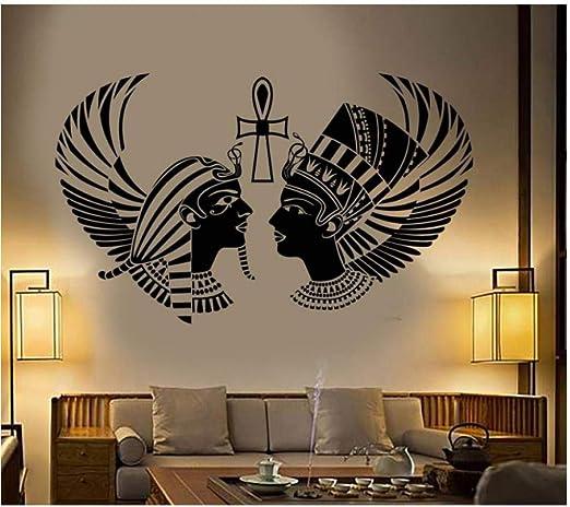 Pegatina de pared Rey egipcio reina cabeza silueta tatuajes de ...