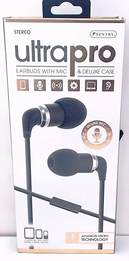 2af010873b6 Amazon.com: Sentry Ultra Pro Metal Earbuds with In-Line Mic & Deluxe Case,  H7001: Home Audio & Theater