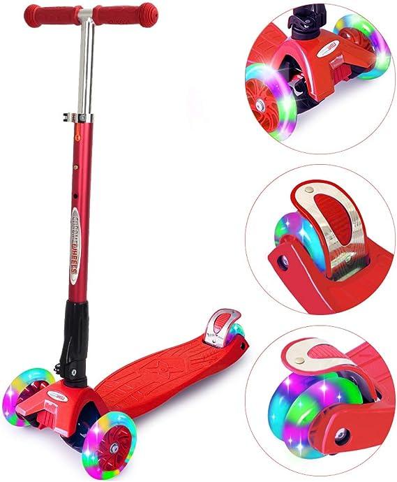 ChromeWheels Scooters Kids - Patinete de Lujo con 4 Ruedas Ajustables, Altura de 150 kg, límite de Peso de 3 Ruedas, luz Intermitente LED de Lean a Steer, niños de 6 a