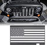 Xprite Grill Insert Mesh with Black & White America U.S Flag for 2007-2018 Jeep Wrangler JK Stock Grille
