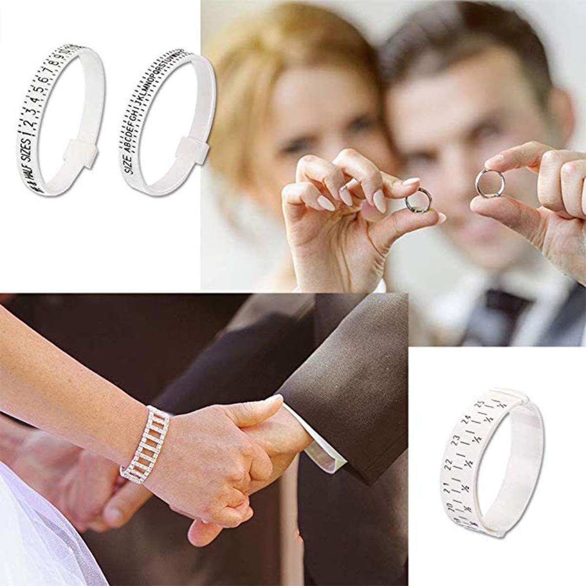 3 piezas est/ándar de pl/ástico ajustable pulsera anillo joyer/ía US UK herramienta de medida blanco Medidor de anillos