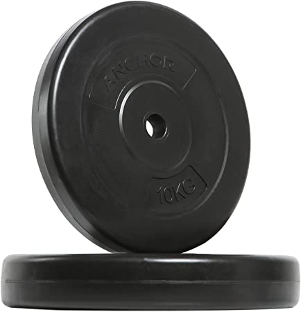 Weight Plate Disc Vinyl 1 Inch 10kg X 2 Standard Plates 20kg Weights Set For Weight Lifting Dumbbell Bars Strength Training Home Gym Fitness Workout Amazon Co Uk Sports Outdoors