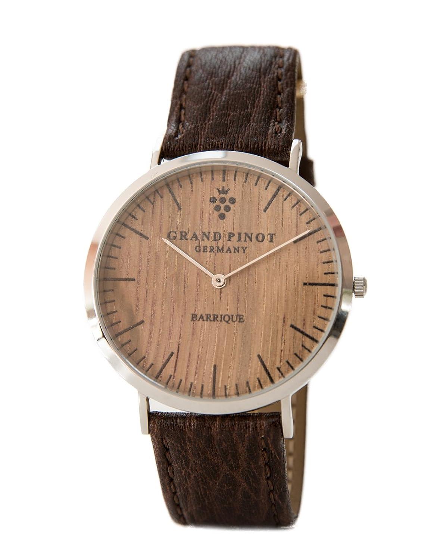 Grand Pinot flache Herren-Armbanduhr CLASSIC (41 mm) Silber-Barriquefass mit strukturbraunem Lederarmband (schlanke