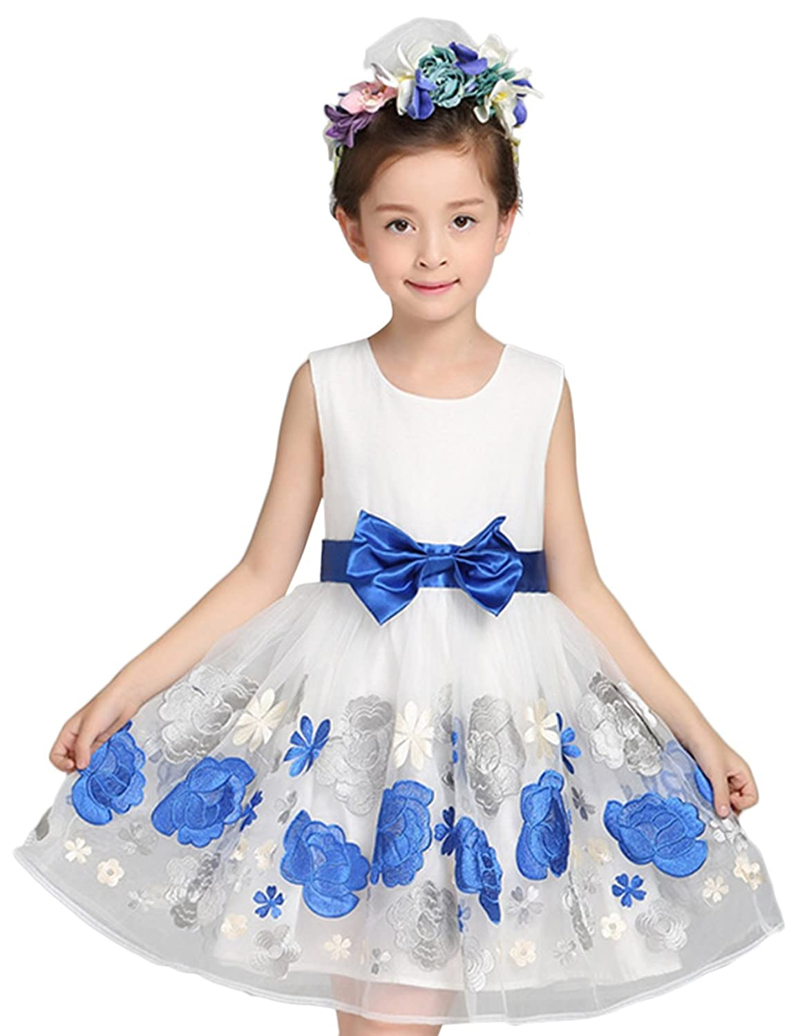 Vimans? Short White and Blue Embroidery Lace Flower Girl Dresses for Wedding