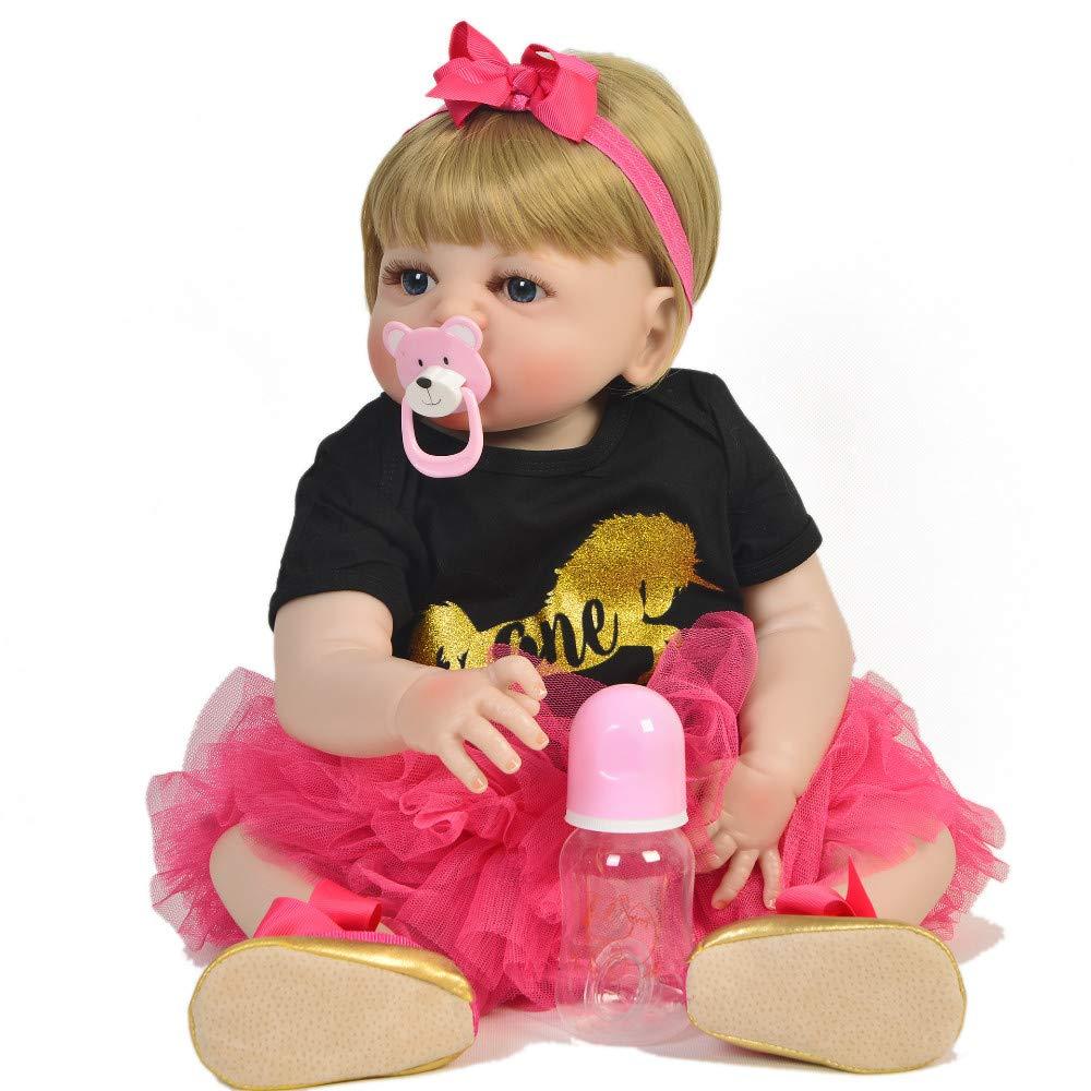 braun Eyes Reborn Babypuppen, handgefertigt 23  57cm Alle Silikon Reborn Alive Puppe für Mädchen lebensechte Babys Spielzeug Cosplay Meerjungfrau Kindergeburtstagsgeschenke Nette Puppe, braune Augen