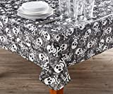 AAN Black & White Skulls Halloween PEVA Tablecloth, (52'' x 90'')