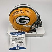 $124 » Autographed/Signed Davante Adams Green Bay Packers Football Mini Helmet Beckett BAS COA