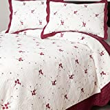 King Size Windsor Home Christmas Thelma Embroidered 3-piece Quilt Set