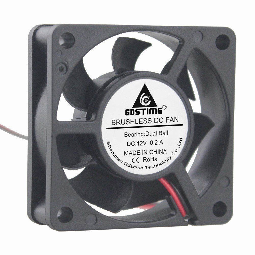 GDSTIME Dual Ball Bearing 60mm x 60mm x 20mm 12v Brushless DC Cooling Fan GDT6020B12V2P