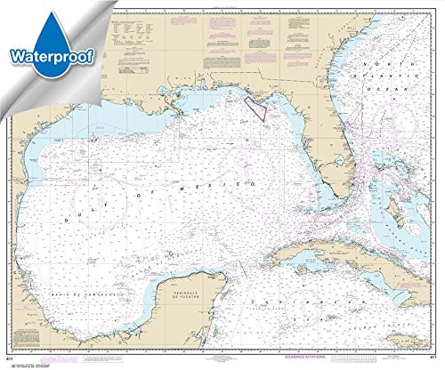 NOAA Chart 411: Gulf of Mexico 35.3 x 42.5 (WATERPROOF) -