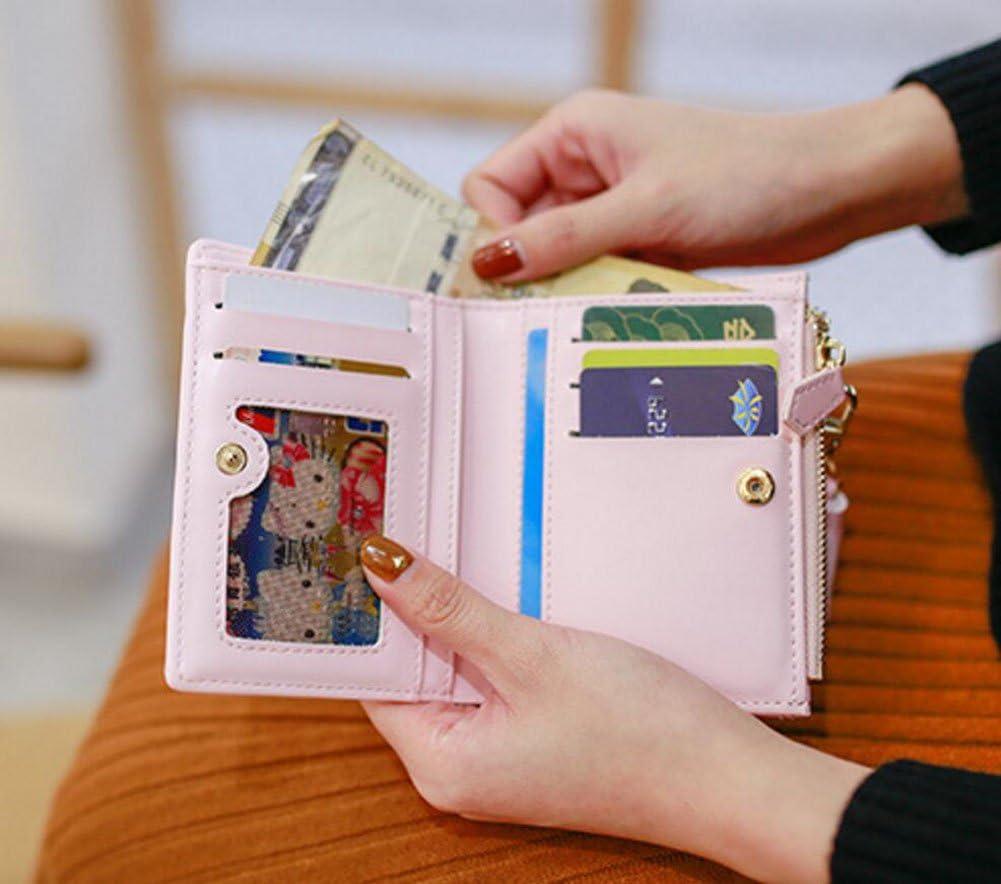 Diyafas Portefeuille en PU cuir pour Femmes Gland Zipp/é Court Porte-Monnaie Sac a main Porte-cartes