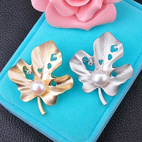 matt surface zircon shell beads fashion Maple Leaf brooch pin scarf buckle 14k gold-plated women girls