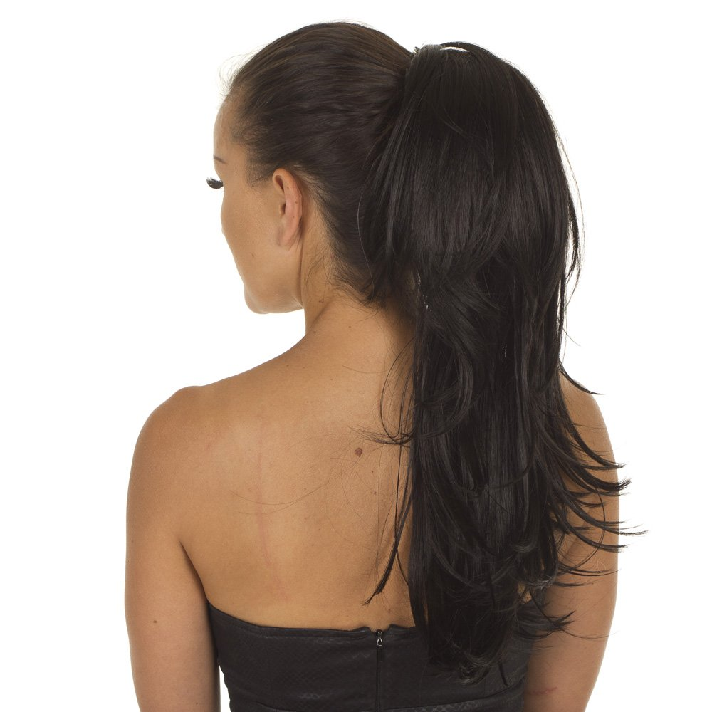 Black Elasticated Ponytail Hairpiece | Razor Cut Layered Hairpiece ...