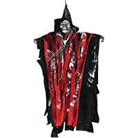 LUOEM Halloween Creepy Scary Hanging Skull Sound Activated Skeleton Ghost Halloween Home Garden Yard Bar Decorations Party Supplies Haunted House Props (Red Clothes)
