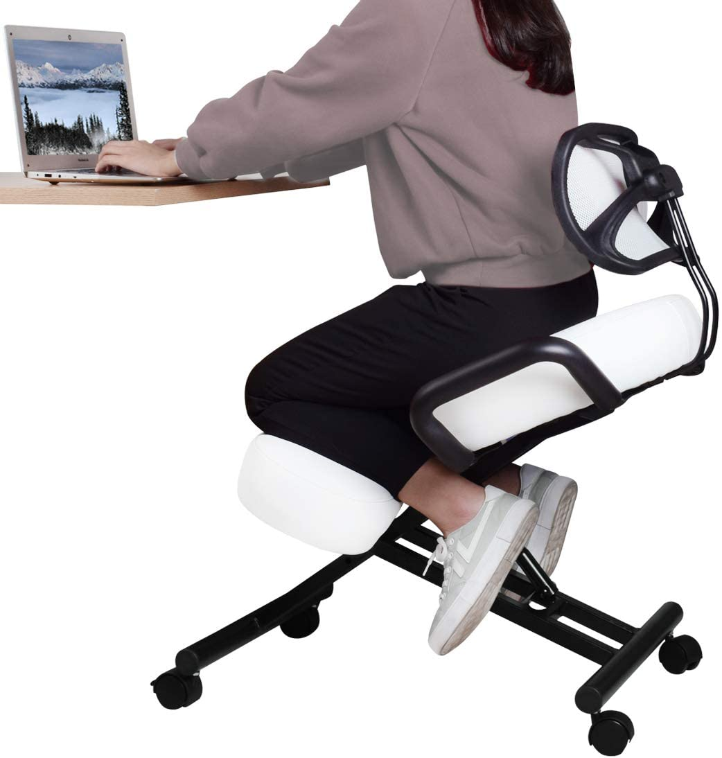 DRAGONN by VIVO Ergonomic Kneeling Chair with Back Support, Adjustable Stool for Home and Office with Angled Seat for Better Posture - Thick Comfortable Cushions, White, DN-CH-K02W